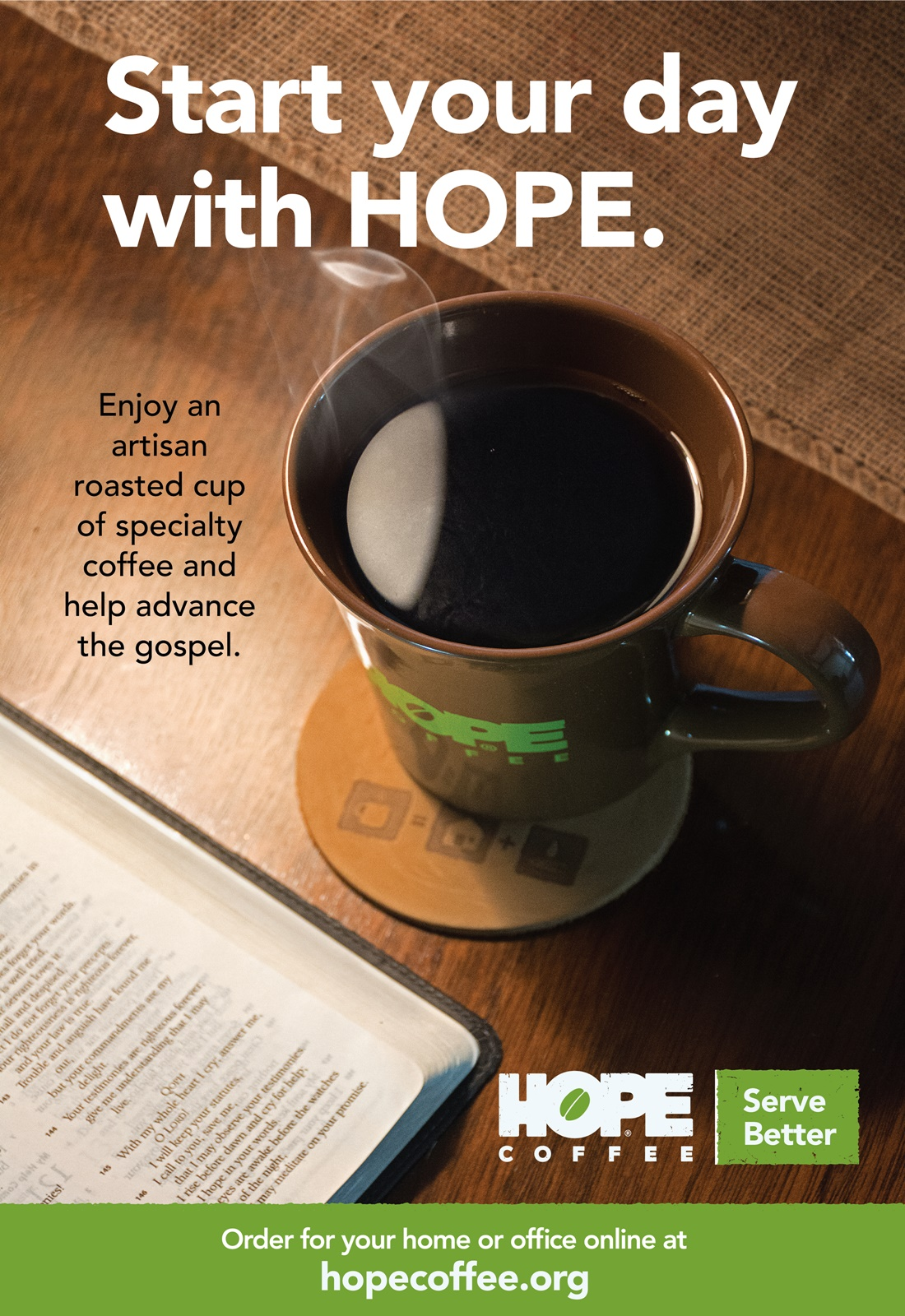 HOPE Coffee - Start your day with HOPE - Missional Coffee that shares the gospel