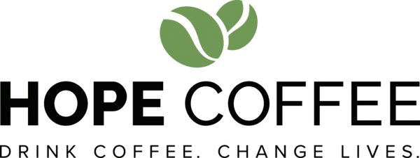 HOPE Coffee Logo with Tagline Black and Green Bean