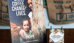 As a HOPE Partner, you can receive this complimentary Welcome Display Kit for your coffee station.  Your church members will know what they are drinking and the impact their coffee choice is having around the world!